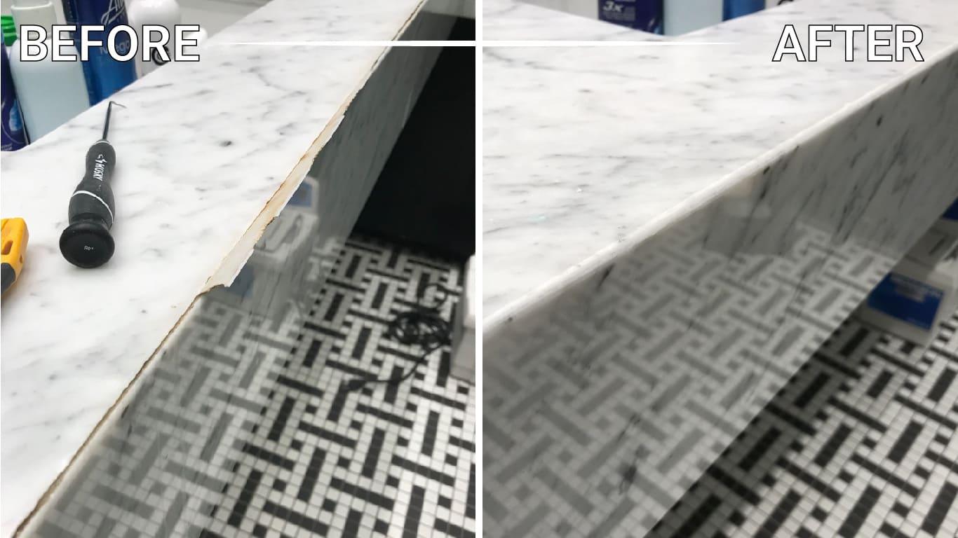 install granite slabs mosaic floor shower table vanity backsplash foyer washroom